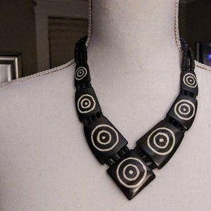 V shaped black and white necklace